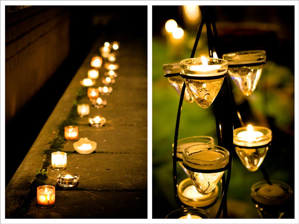 , as velas podem ser dispostas sozinhas ou parte do arranjo de